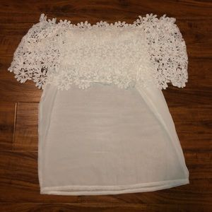 Sheer off the shoulder white top w/ floral detail